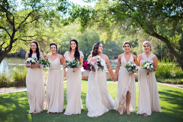 bridesmaids in neutral wedding dresses