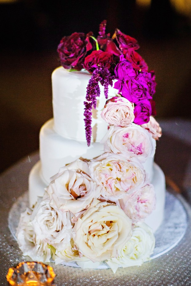 ombre floral accented wedding cake
