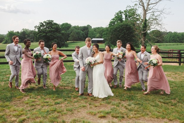 soft grey and pink wedding party