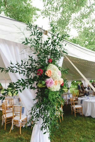 floral accented wedding tent