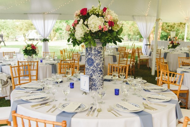 tented wedding reception in blue and white