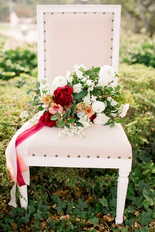 white and red wedding bouquet