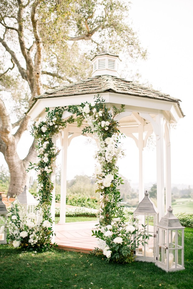 wedding gazebo with floral arch