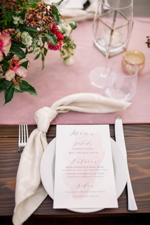 soft pink watercolor menu