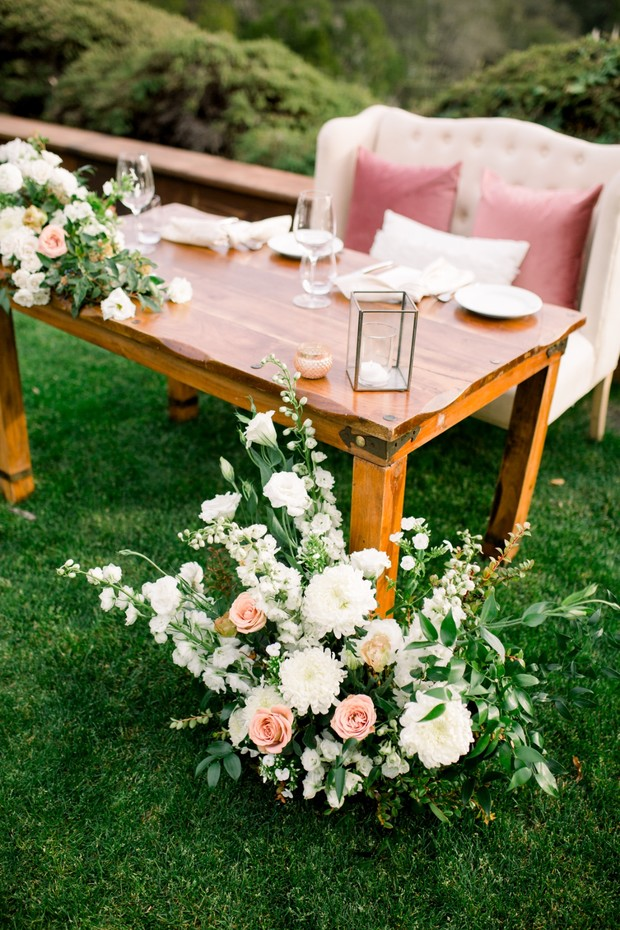 soft blush and white romantic sweetheart table
