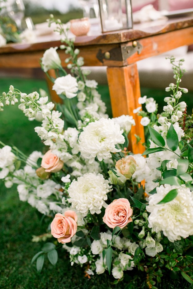 blush and white wedding florals
