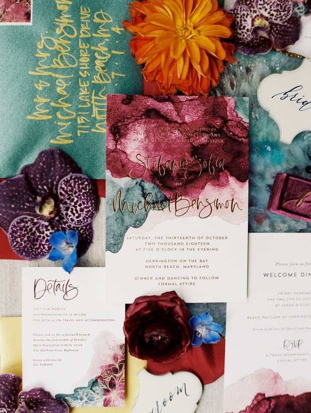 jewel-tone wedding invites