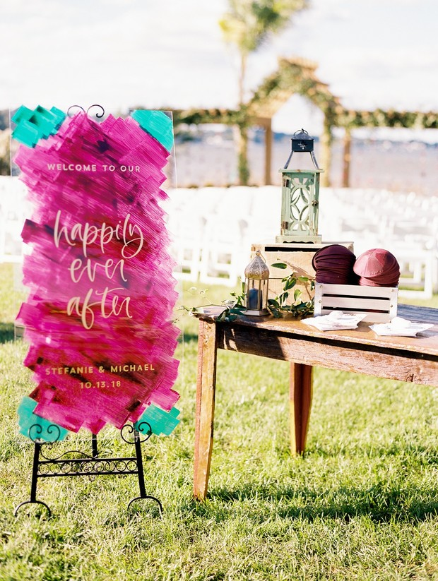 colorful wedding sign