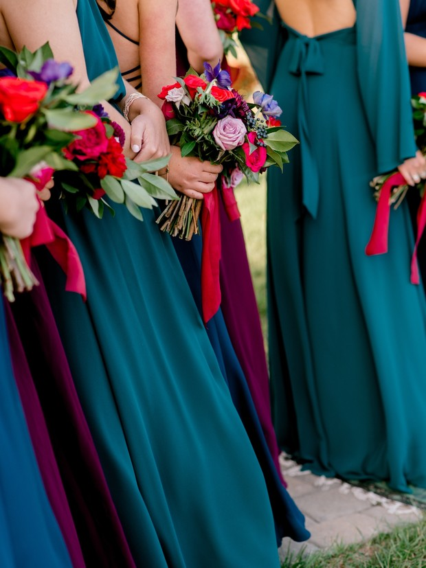 jewel-toned bridesmaid dresses
