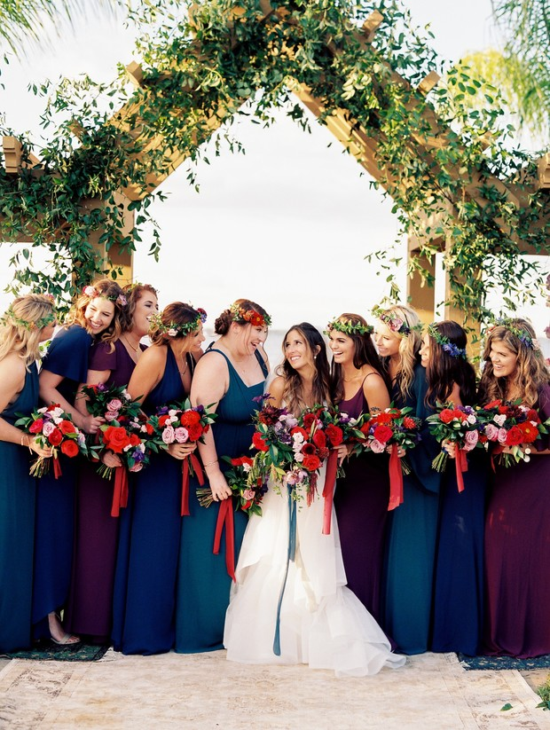 jewel-toned bridesmaid dresses and bouquets