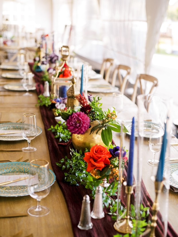 jewel-toned wedding centerpiece