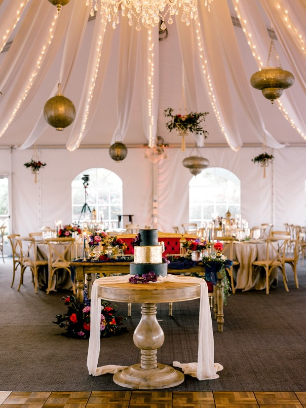 reception tent lighting
