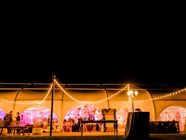 tent wedding reception lighting