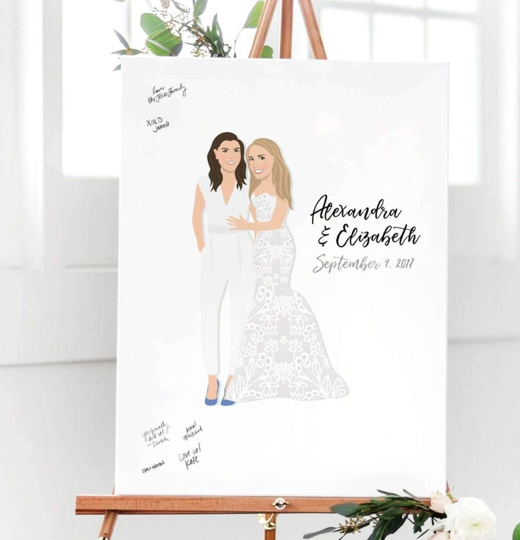 We want everyone to have the perfect guest book on their big day!! This amazing Same Sex Wedding Guest Book Alternative with Portrait