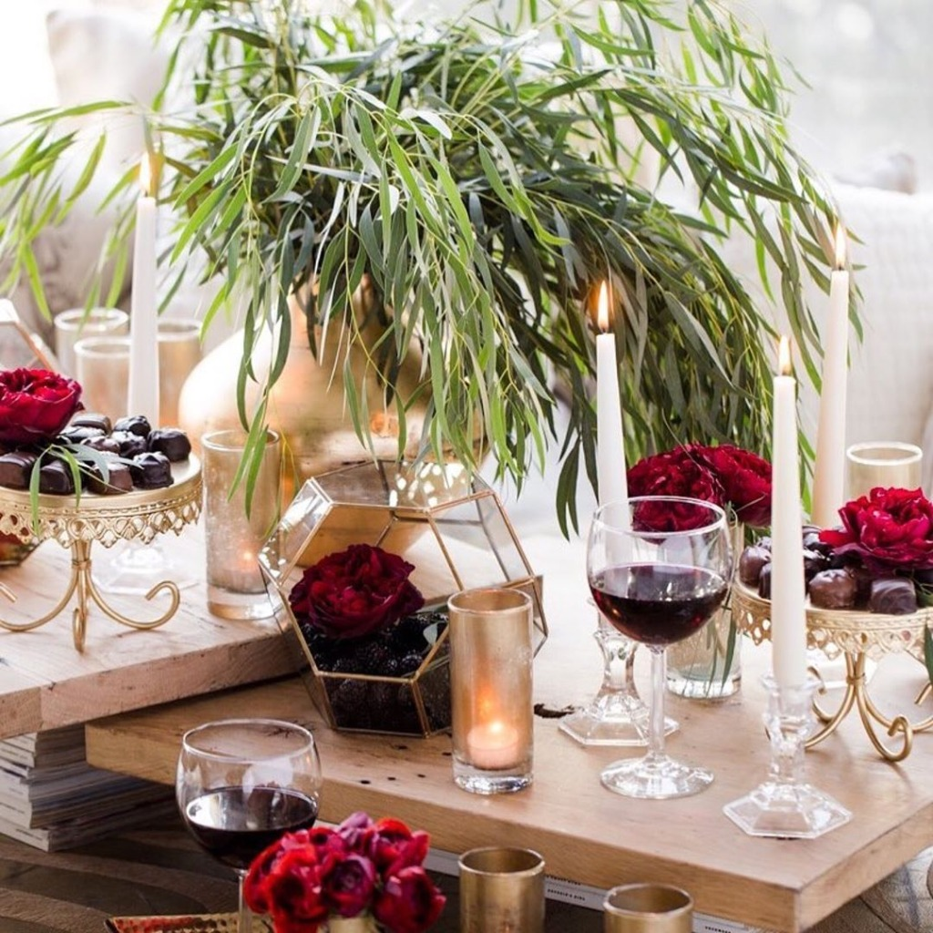 Valentines Date Night created by @shawnayamamoto ... Gold Cake Stands created by @opulenttreasures