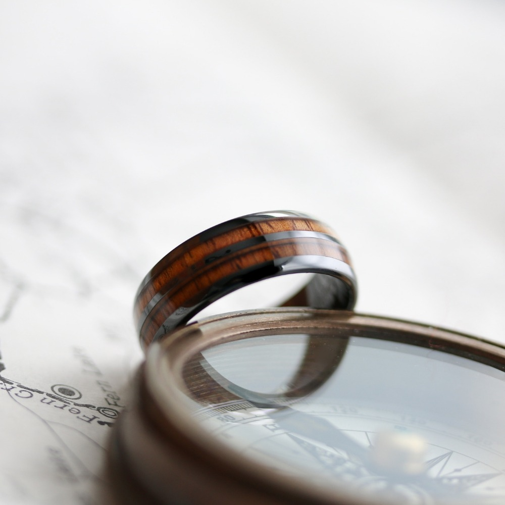 Mens wooden barrel wedding ring. Truly unique and inspired from vintage wine barrels. This wooden wedding ring is crafted out of black