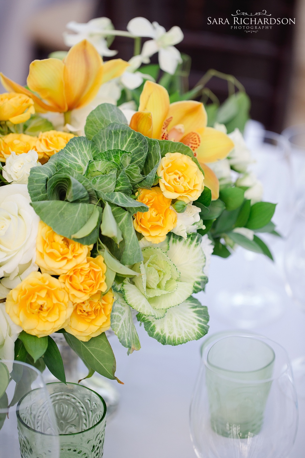 Bright yellow and organic accents for a beautiful centerpiece