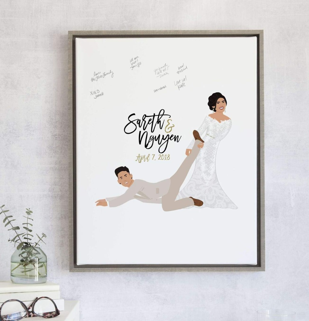 If you'd like a little personality to your guest book, this Funny Wedding Guest Book Alternative with Wife Dragging Husband is perfect