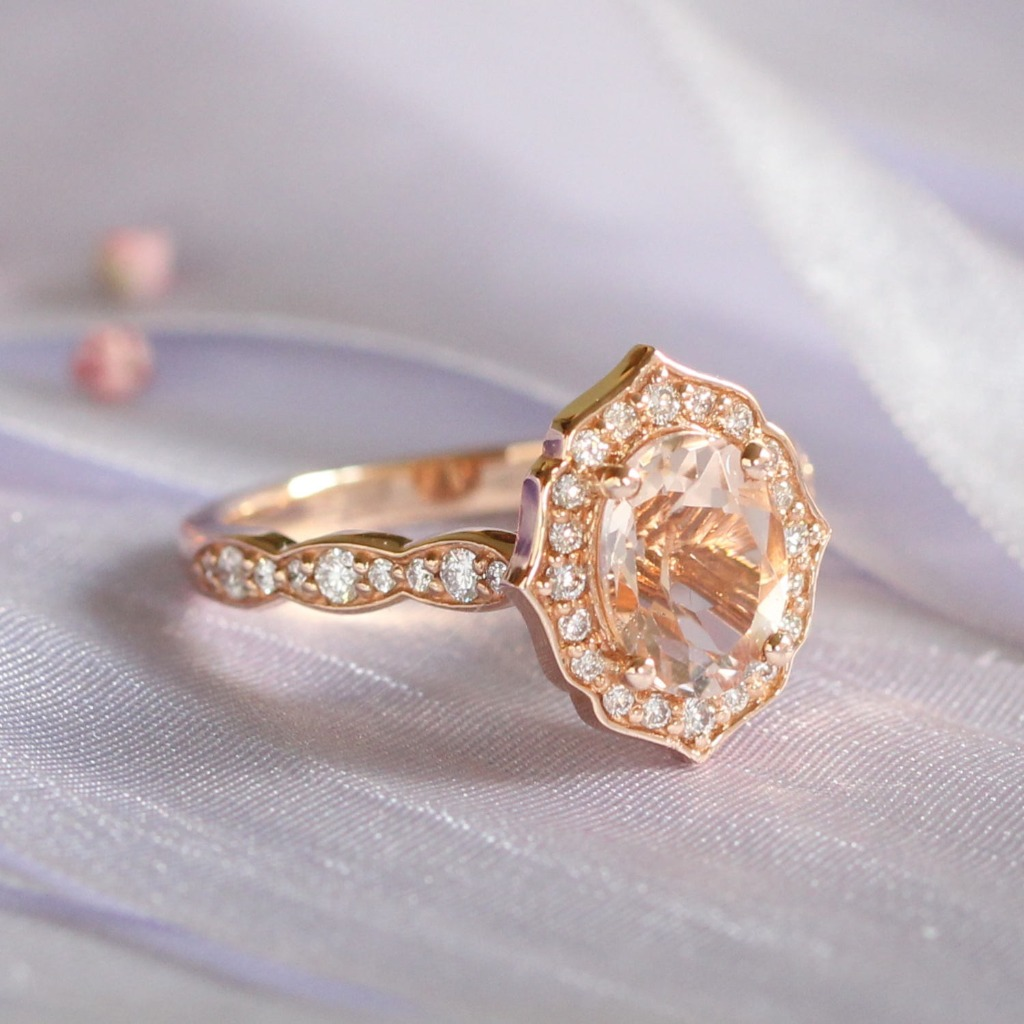 She's our signature design ~ We love our Vintage Floral Collection, seen here with Oval Morganite in Scalloped Diamond Band in Rose