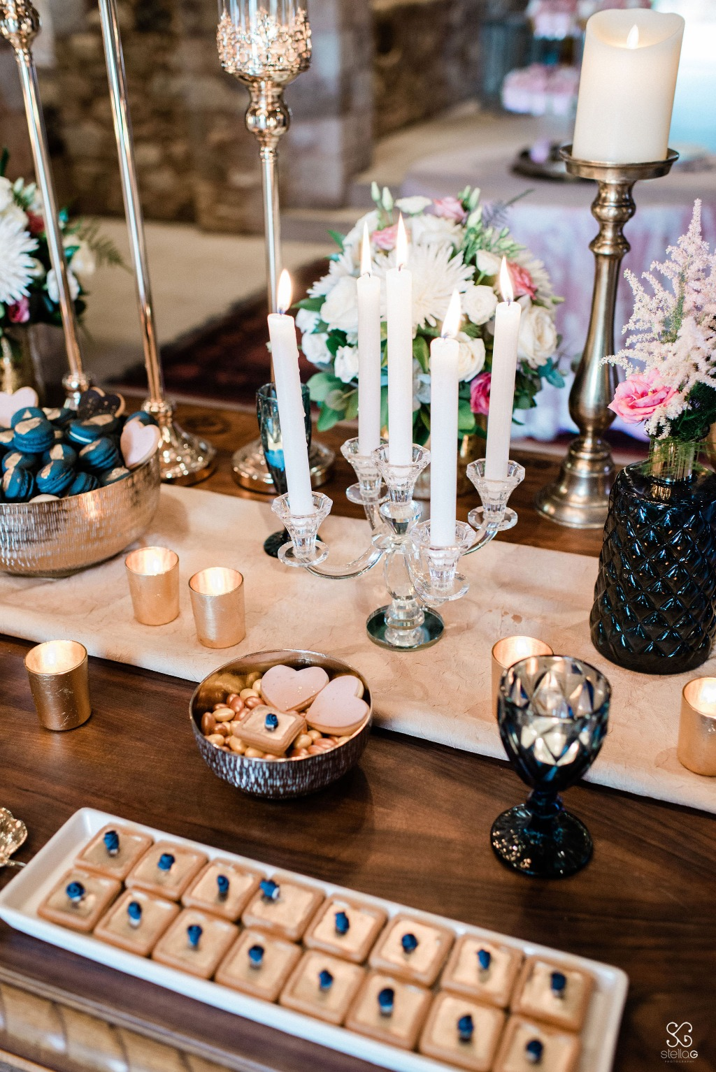 Isn't that just a beautiful beginning to a sweet life together? Details from a wedding candy table in gold, blue and pink.