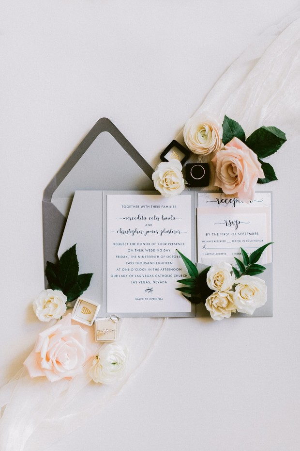 grey and blush wedding invitation suite