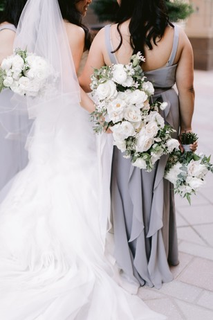 bridesmaids in silver dresses