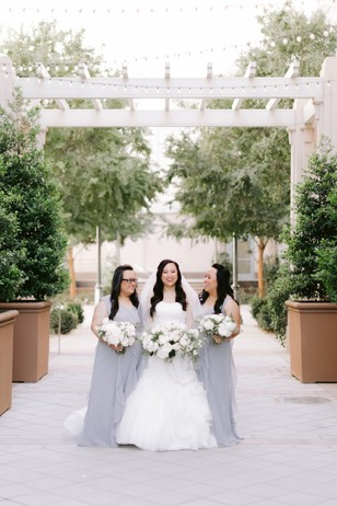 bridesmaids in silver