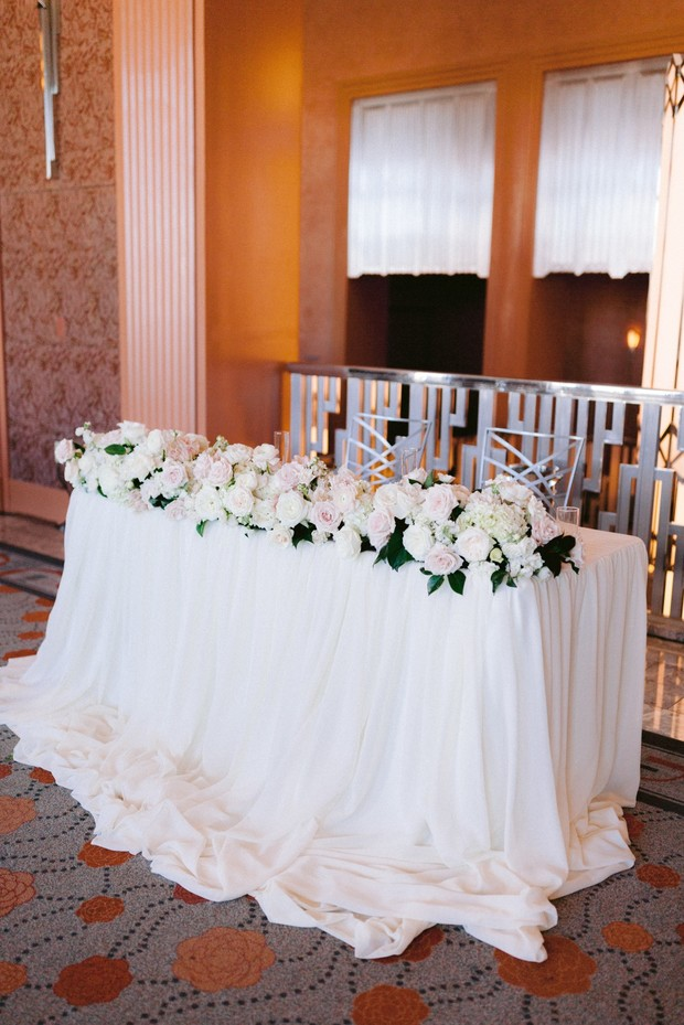 sweetheart table in all white