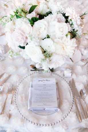 white and silver wedding place setting