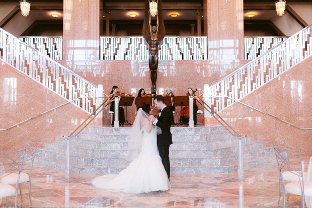 wedding couple at theater wedding venue