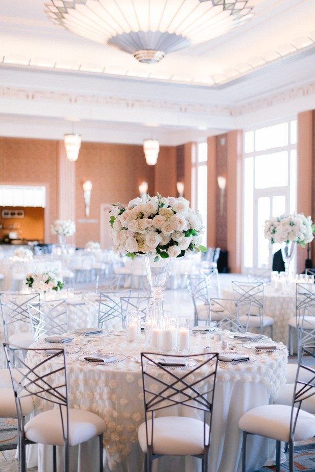 white and silver ballroom wedding reception