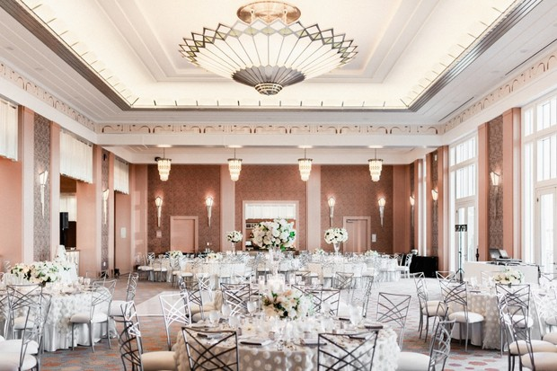glam silver and white wedding reception