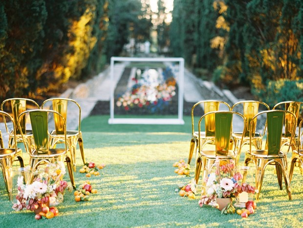 gold ceremony chairs