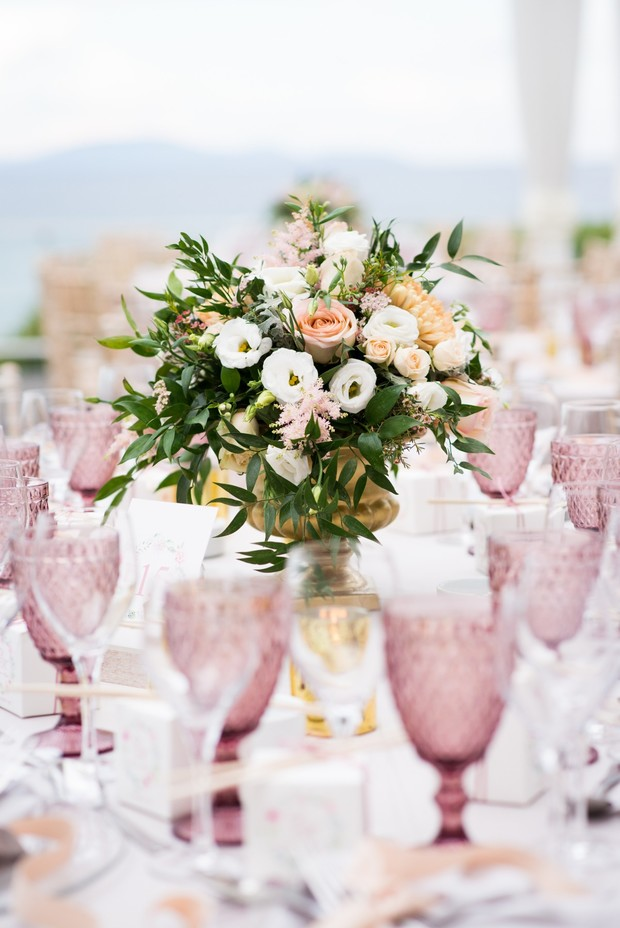 boho inspired pink and gold wedding table decor