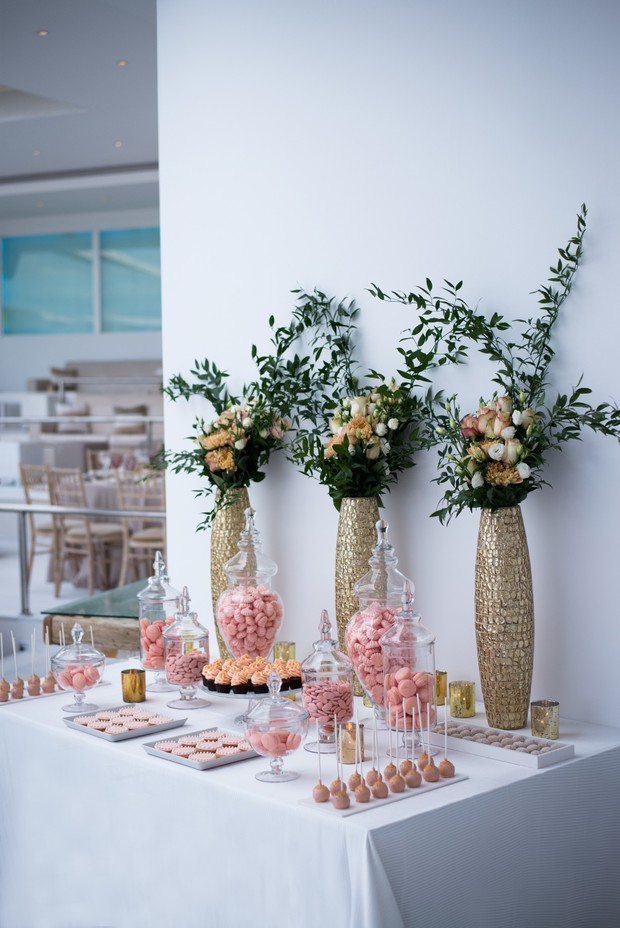 dessert table in pink and coral