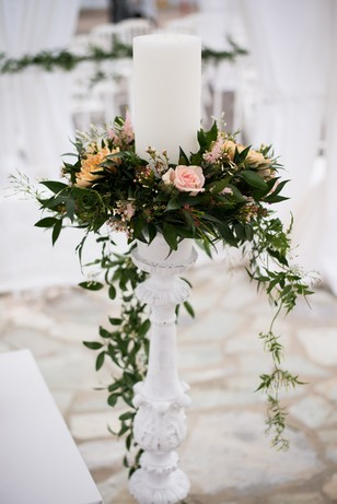 floral accented wedding candles