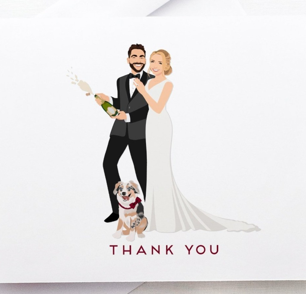 Reuse your existing portraits or have a new couple portrait created on a beautiful set of Thank You Cards with Wedding Portrait!!
