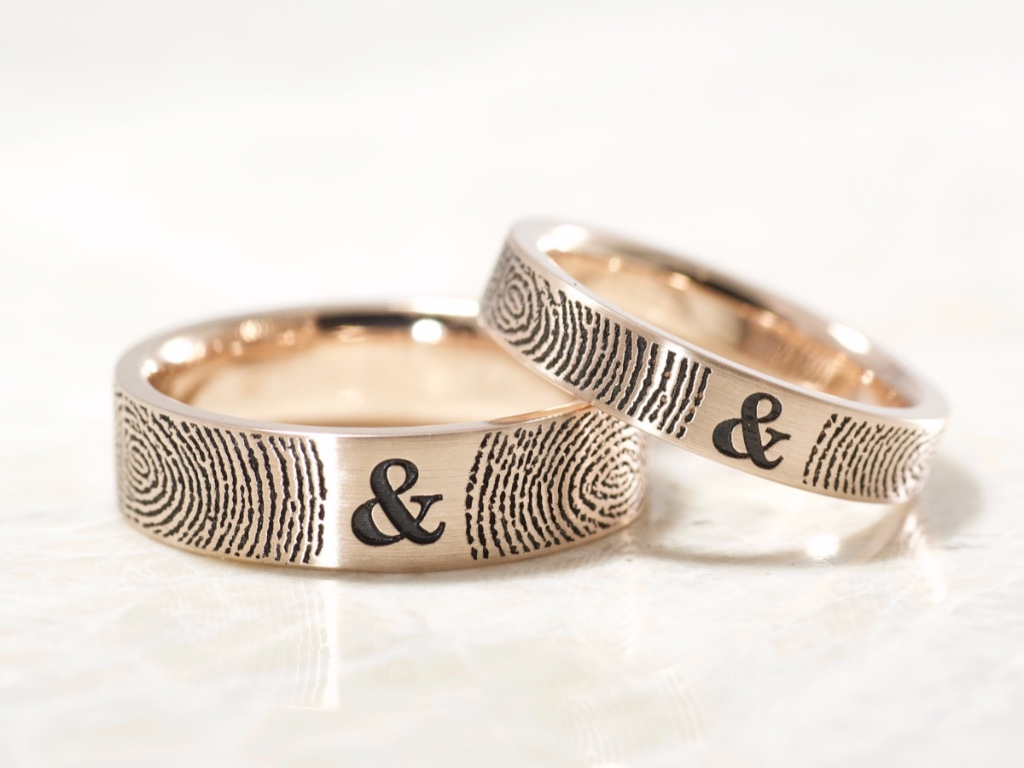 Set of You and Me Forever Comfort Fit Fingerprint Wedding Bands in beautiful 14k Rose Gold.
