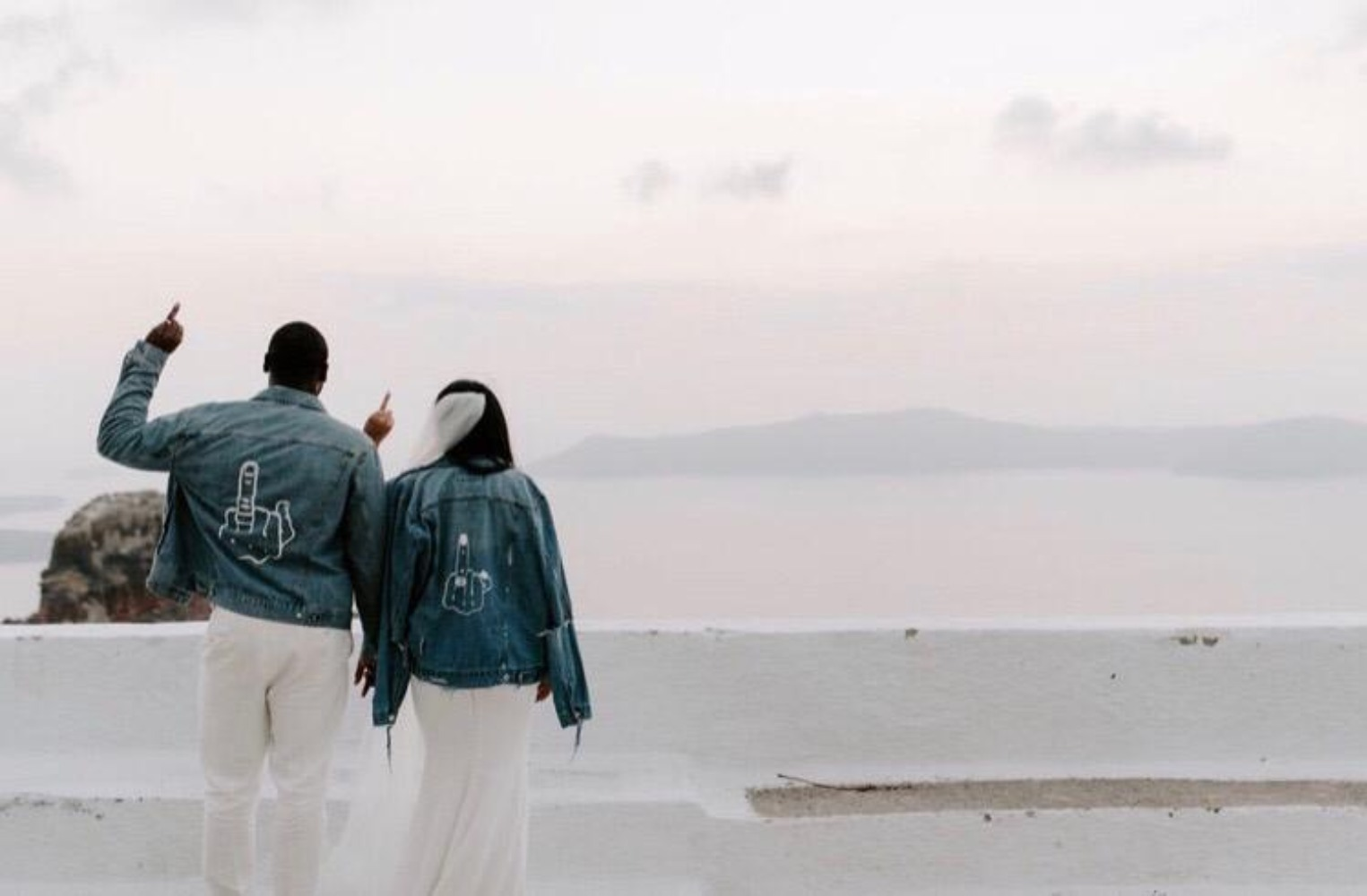 Bride and groom jean jackets