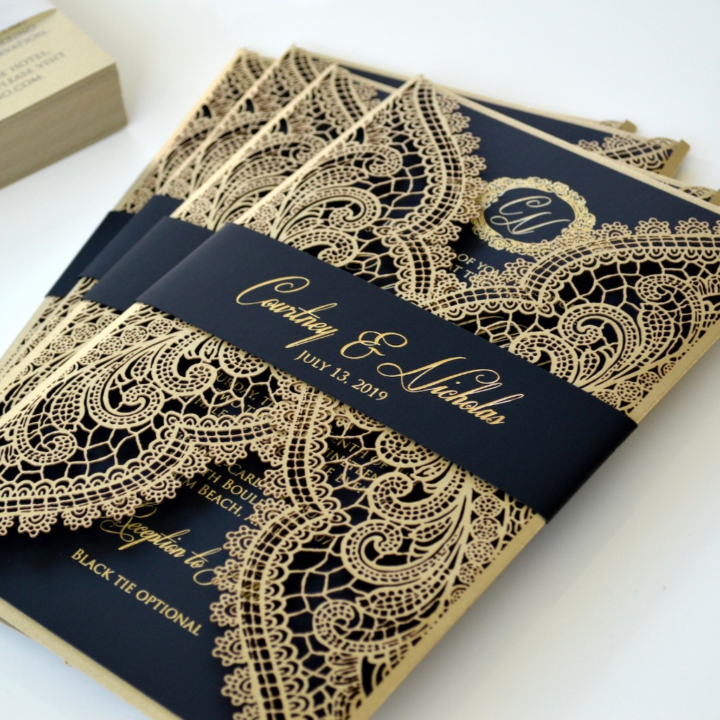 How sexy are these gold foil printed invitations with Chantilly lace laser cut wrap? #Swoon
