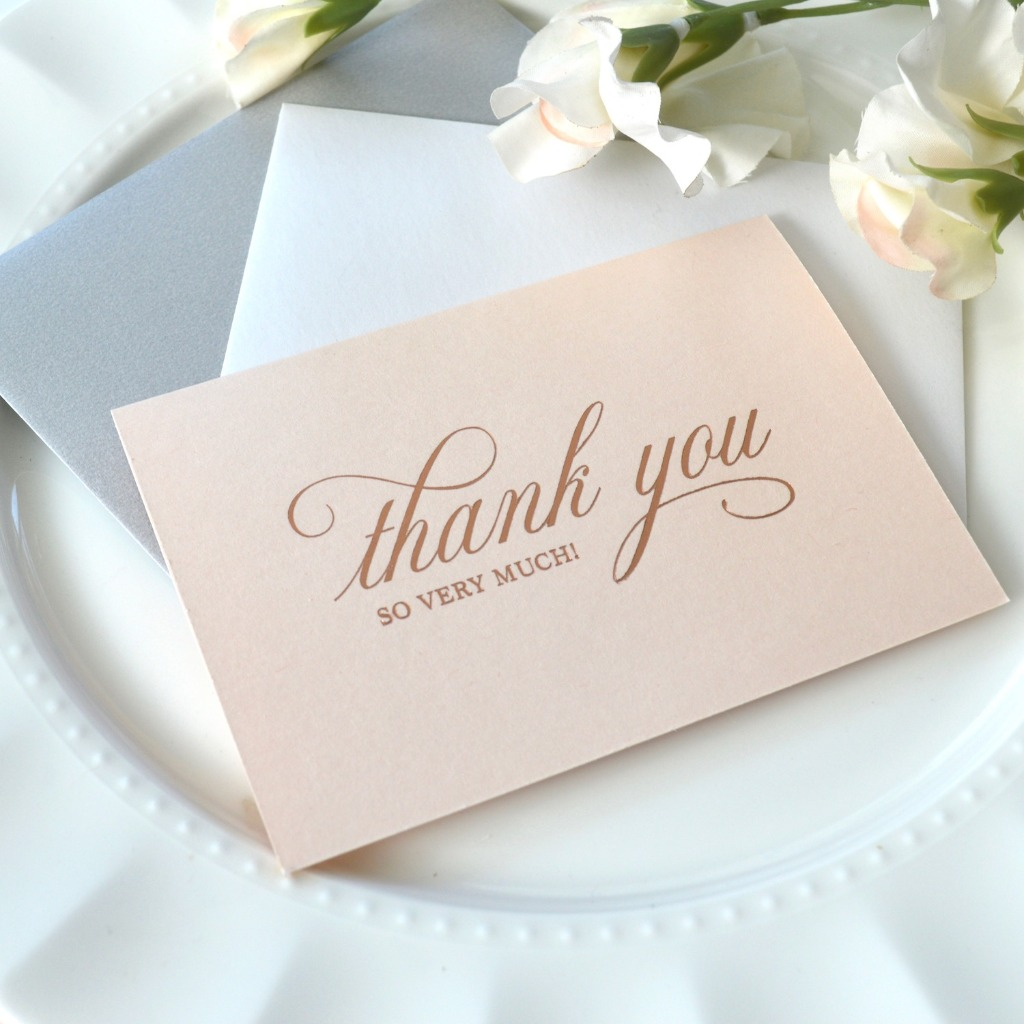 These classic rose gold foil print on peach blush shimmer cards are great for thanking not just your family and friends, but all those
