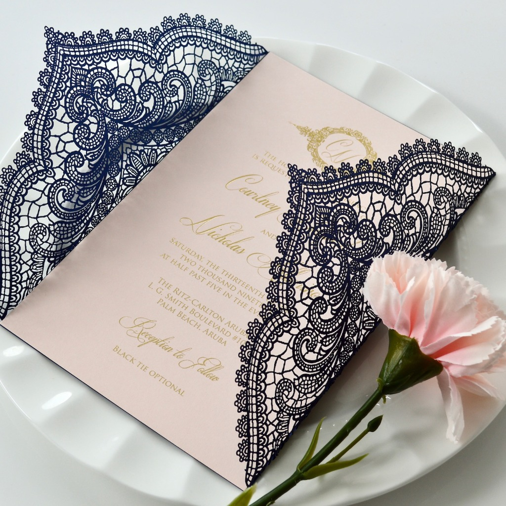 Make a statement with these contrasted navy and blush invitations with gold foil printing. Check out the customization options in our