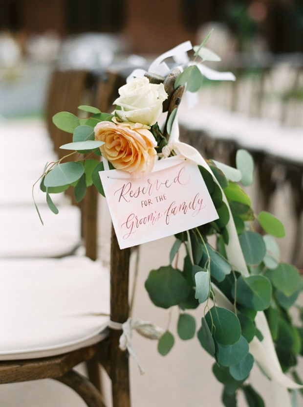 reserved seating sign for ceremony