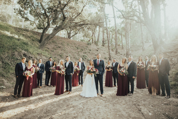 burgundy and navy wedding party