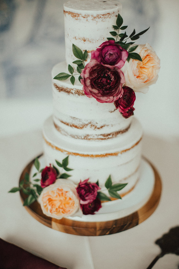 floral nearly naked wedding cake