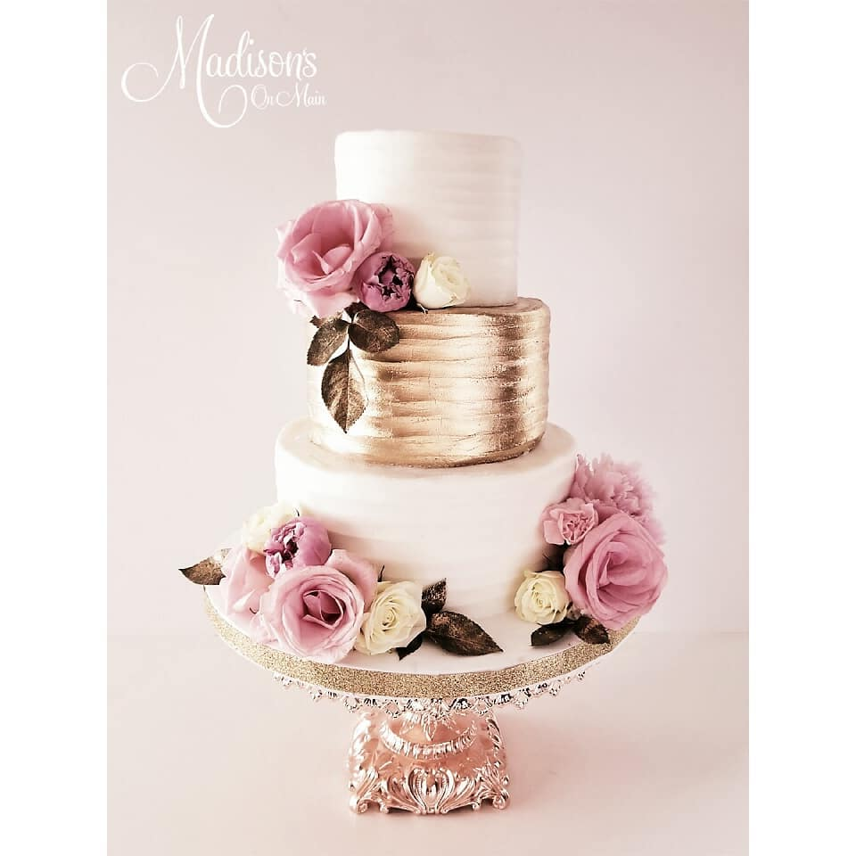 Rose Gold and Blush Wedding Cake by Madison's on Main ~ Rose Gold Baroque Cake Stand created by Opulent Treasures