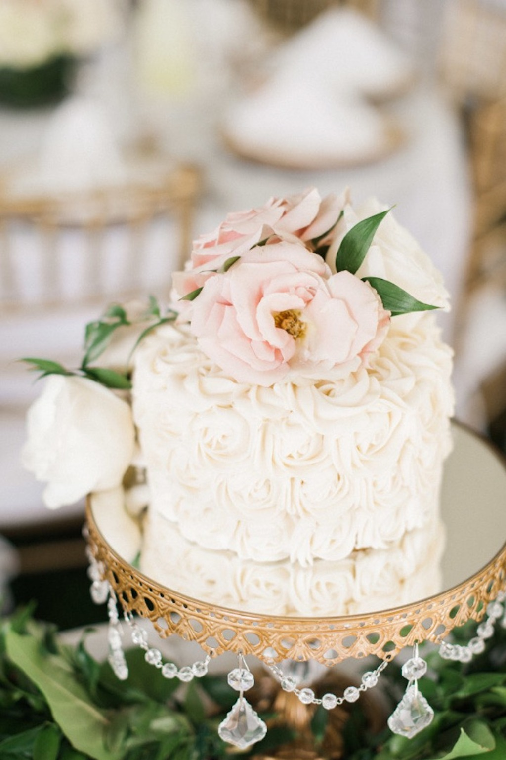 Garden Party Wedding with blush tones and rose gold accents, this wedding is filled with romantic details! Wedding Cake Stand with