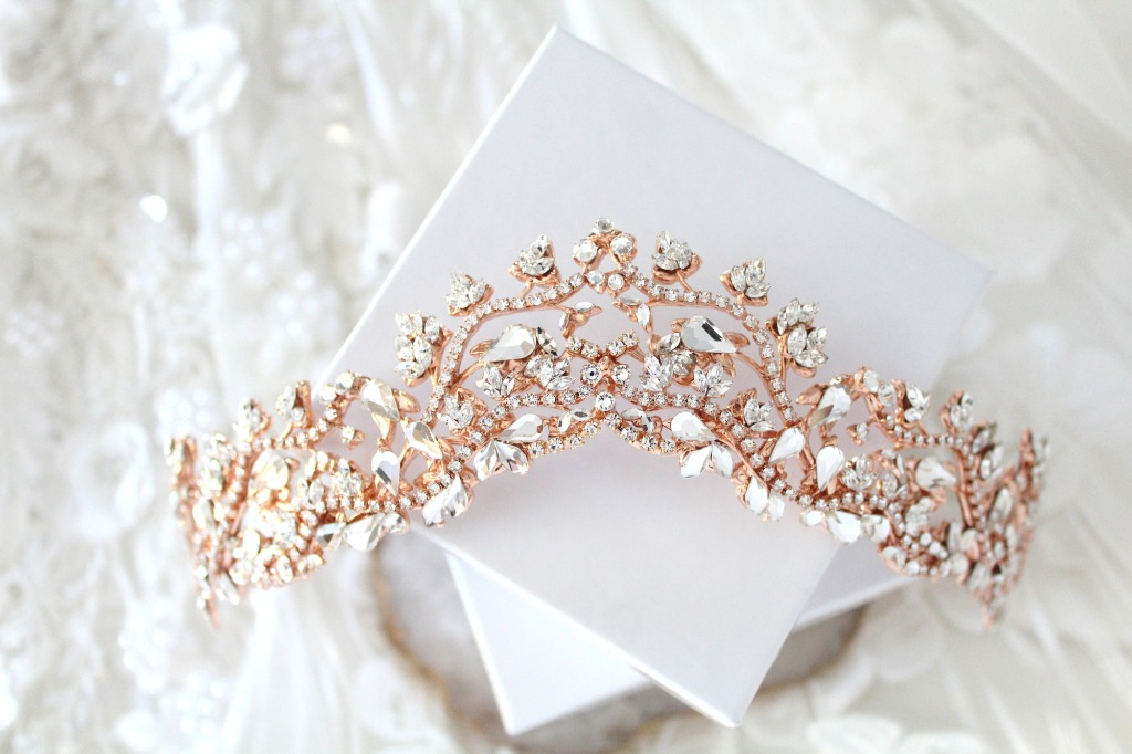 Handcrafted Rose gold bridal tiara crown I created using vintage tooled leaf stampings soldered together so it lasts you a life time
