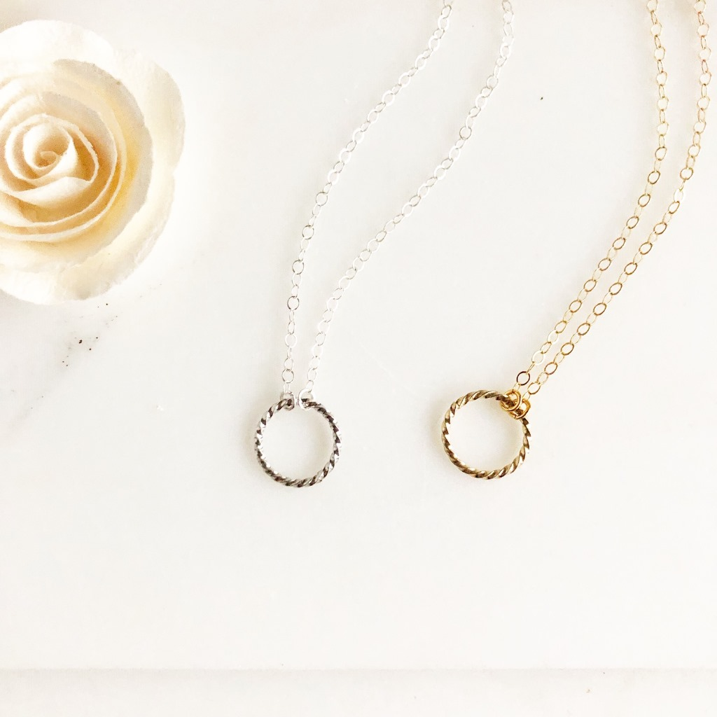 Sweet simple twisted circle necklace. Choose your length and finish!