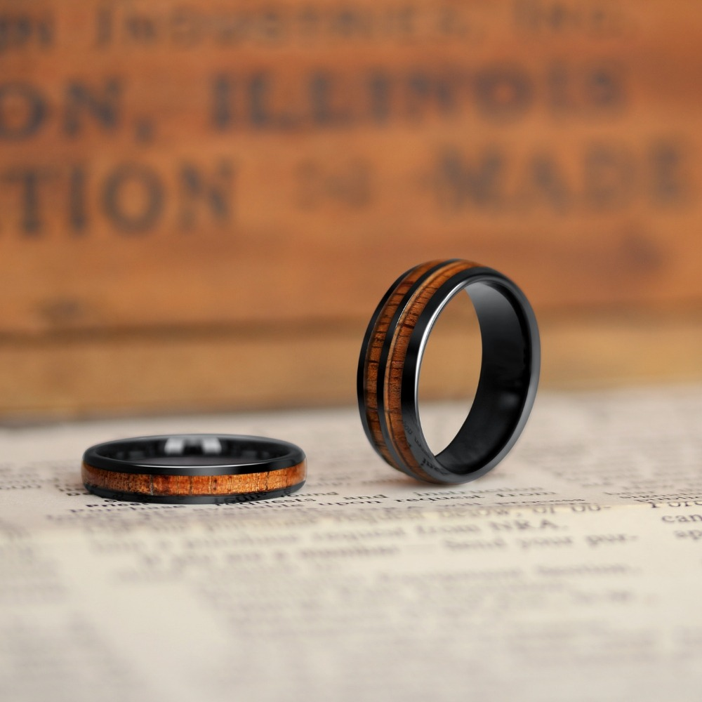 His and Her Wood Wedding Ring Set. A unique wedding ring set crafted out of koa wood and inlaid inside of a ceramic core. So many more